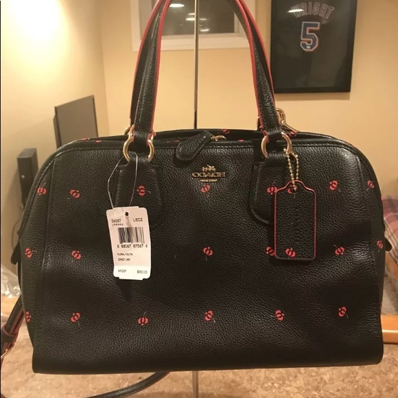 023e1d1a3b84 Coach Handbags - NWT Coach NOLITA Satchel Black Red Floral Leather